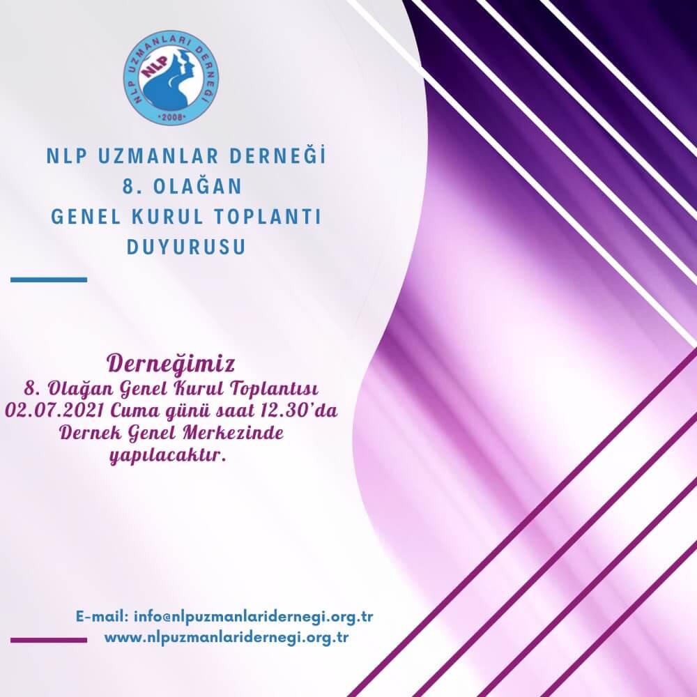 NLP Uzmanlar Derneği 8. Olağan Genel Kurul Toplantı Duyurusu